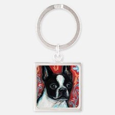 Portrait of smiling Boston Terrier Keychains