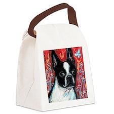 Portrait of smiling Boston Terrier Canvas Lunch Ba