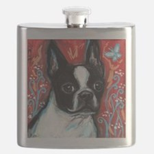 Portrait of smiling Boston Terrier Flask