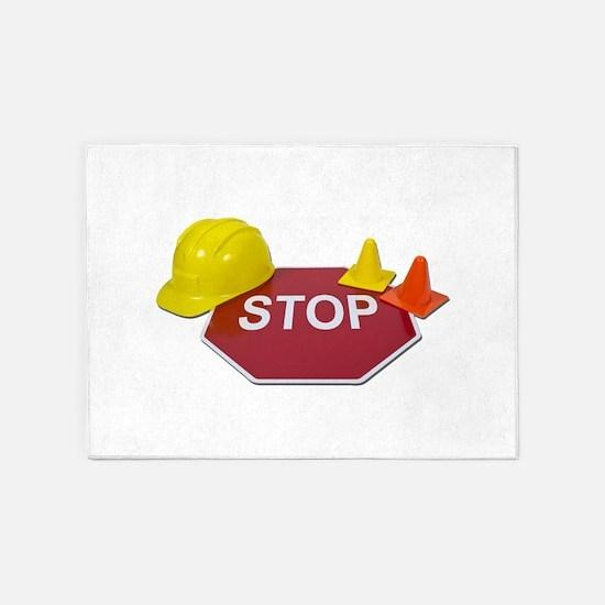 StopSignHardHatSafetyCones091711.pn 5'x7'Area Rug