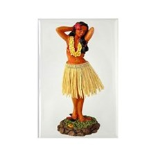 Retro Hula Girl Rectangle Magnet