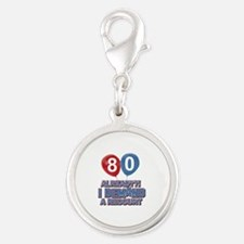 80 years birthday gifts Silver Round Charm