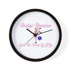 Badge Bunnies Strip Wall Clock
