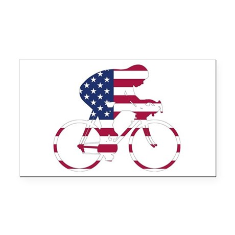 U.S.A. Cycling Rectangle Car Magnet