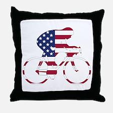 U.S.A. Cycling Throw Pillow