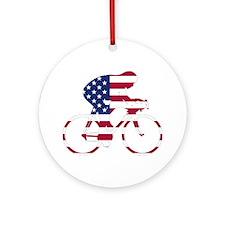 U.S.A. Cycling Ornament (Round)