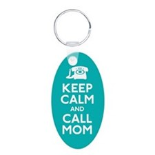 Keep Calm and Call Mom Aluminum Oval Keychain