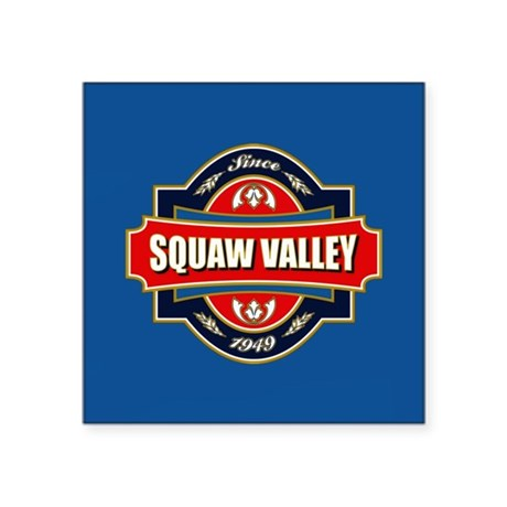 "Squaw Valley Old Label Square Sticker 3"" x 3"""