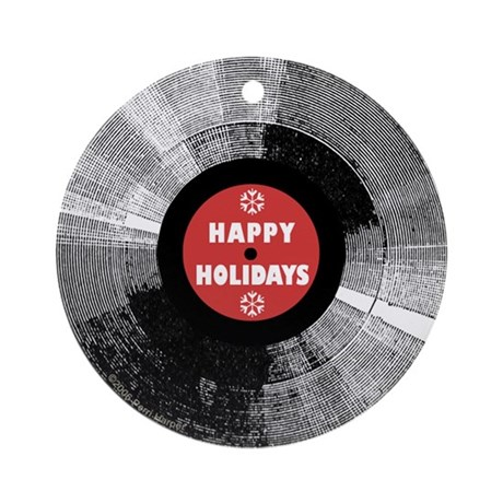Holiday Record Ornament - Happy/Red (Round)