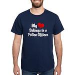 My Heart Belongs to a Police Dark T-Shirt
