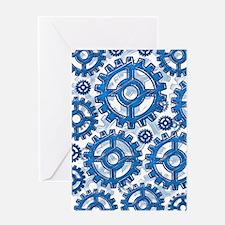 Blue gear wheels Greeting Card