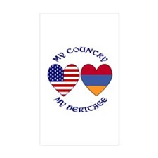 Armenia / USA Country Heritage Rectangular Decal