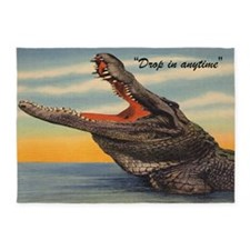 Vintage Alligator Postcard 5'x7' Area Rug