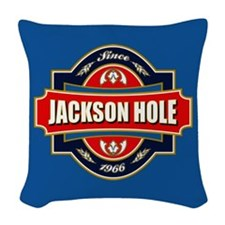 Jackson Hole Old Label Woven Throw Pillow