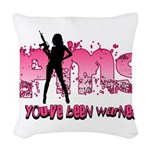 PMS You've Been Warned Woven Throw Pillow