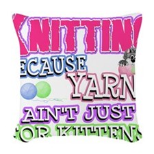 Knitting Kitten Woven Throw Pillow