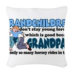 Grandpa's Horsey Rides Woven Throw Pillow