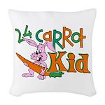 24 Carrot Kid Woven Throw Pillow