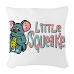littlesqueaker.png Woven Throw Pillow