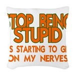 Getting On My Nerves Woven Throw Pillow