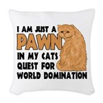 Cat's World Domination Woven Throw Pillow