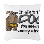 dogworry2.png Woven Throw Pillow
