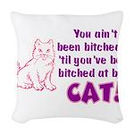 bitchcatclock.png Woven Throw Pillow
