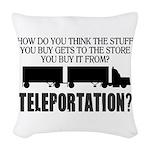 Teleportation Truck Driver Woven Throw Pillow