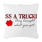 Kiss a Trucker Woven Throw Pillow