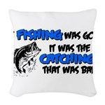 badcatchblack.png Woven Throw Pillow