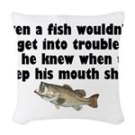 fishtrouble.png Woven Throw Pillow