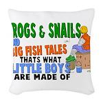 Frogs & Snails Woven Throw Pillow