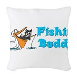 fishinbuddy.png Woven Throw Pillow