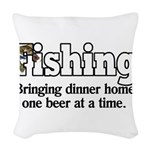 one beer at a time.png Woven Throw Pillow