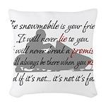 Snowmobiling Woven Throw Pillow