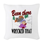 been there, wrecked that.png Woven Throw Pillow
