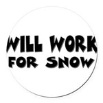 worksnow.png Round Car Magnet