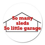 So Many Sleds Round Car Magnet