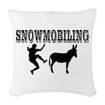 Snowmobiling Kicks Donkey Woven Throw Pillow