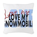 Love Me - Snowmobile Woven Throw Pillow