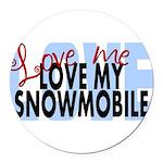 Love Me - Snowmobile Round Car Magnet