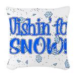 Wishin' For Snow Woven Throw Pillow