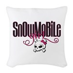 Snowmobile Girl Skull Woven Throw Pillow