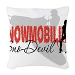 Snowmobiling Sno-Devil Woven Throw Pillow