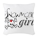 Snowmobile Girl Woven Throw Pillow