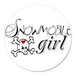Snowmobile Girl Round Car Magnet
