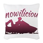 Snowilicious Snowmobile Woven Throw Pillow