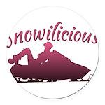 Snowilicious Snowmobile Round Car Magnet