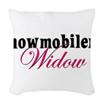 snowmobiwidow.png Woven Throw Pillow