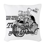 Two wheels move the soul Woven Throw Pillow